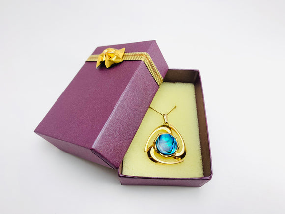 Vintage Gold Abalone Pendant Necklace