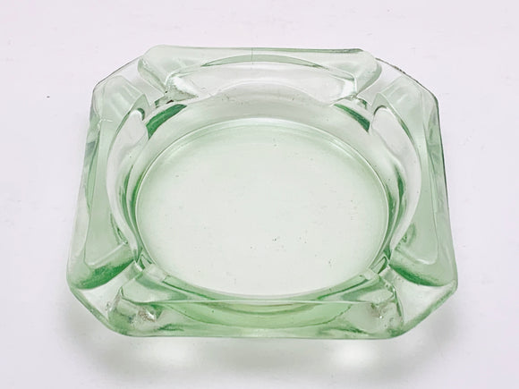 Vintage Green Glass Ashtray Made in USA