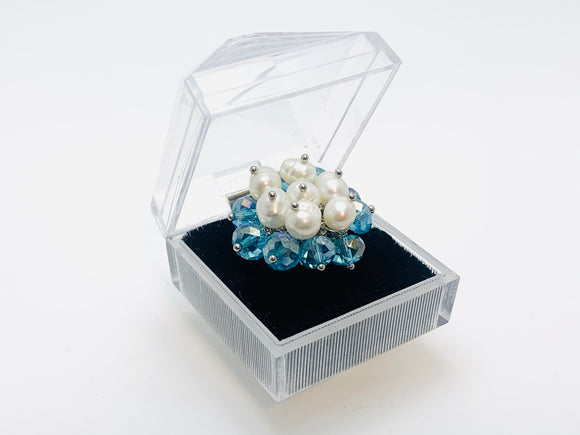 1970's Blue Beaded Faux Pearl Adjustable Cocktail Ring