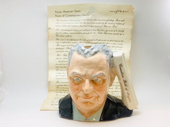 1970's John Diefenbaker, Canadian Bill of Rights Toby Mug with Document