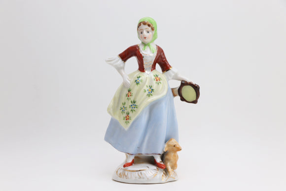SOLD! 1940's Occupied Japan Lady and the Lamb Porcelain Figurine