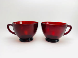1940's Anchor Hocking Royal Ruby Glass Tea Cups