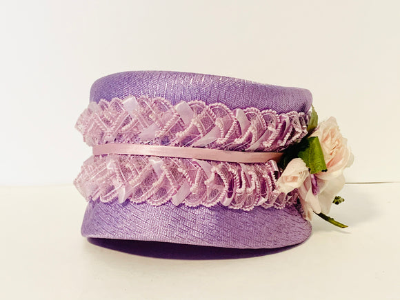 1950's Purple Pillbox Hat with Ribbon and Pink Rose