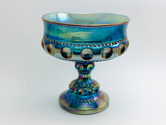 Vintage Indiana Blue Carnival Glass Kings Crown Pedestal Candy Dish
