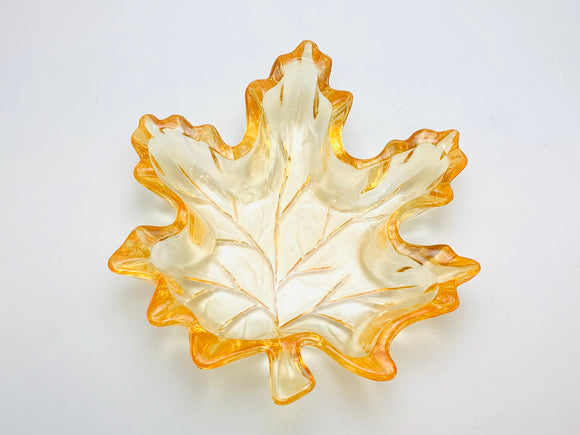 1950's Glass Maple Leaf Dish With Orange Hue