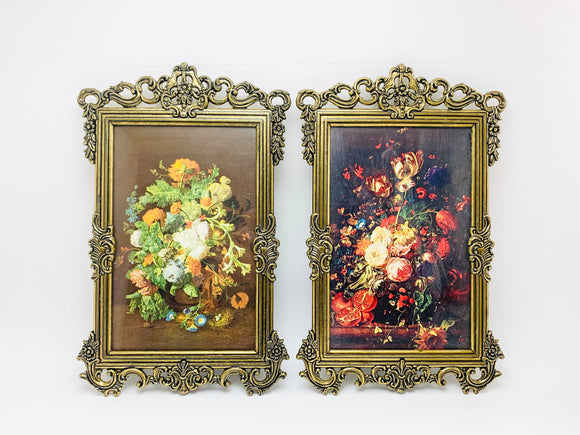 1960's 2 Italian Ornate Metal Framed Floral Prints