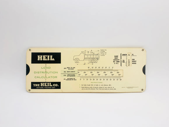 1965 Heil Load Distribution Calculator- Slide Chart
