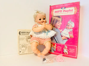 1970 Ideal Patti Playful Baby Doll With Box and Accessories