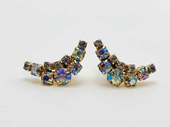 Vintage Continental Aurora Borealis Rhinestone Screw Back Earrings
