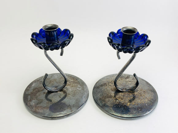 Antique Silver Skinny Taper Candle Holders with Cobalt Glass