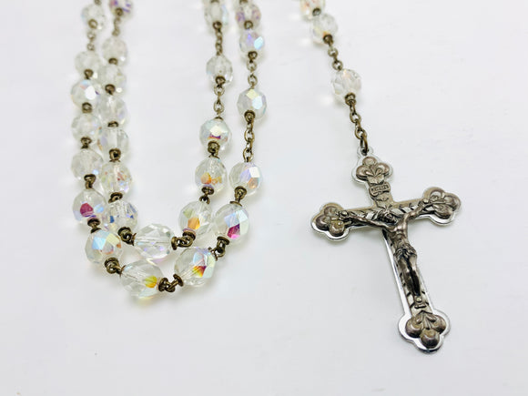 1950's Rosary Clear Glass Aurora Borealis Beads Jewelcreek.ca