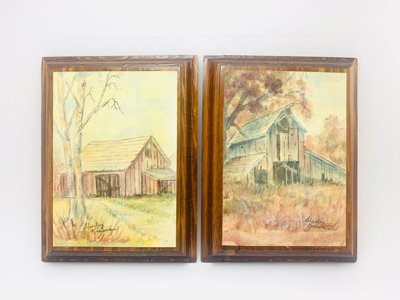 2 Vintage Shirley Kinsman Originals on Wood