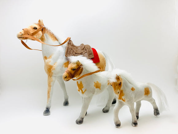 Vintage Flocked Horses, Set of 3