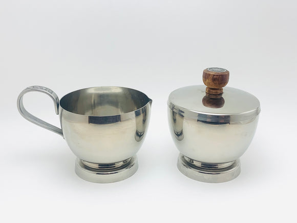 Vintage Stainless Cream and Sugar Bowl