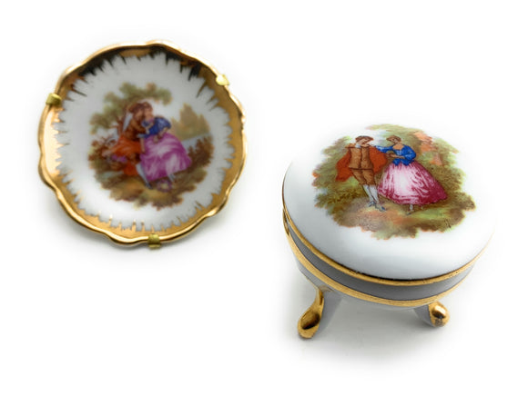 Vintage Limoges Meissner Fragonard Ring Dish and Miniature Plate
