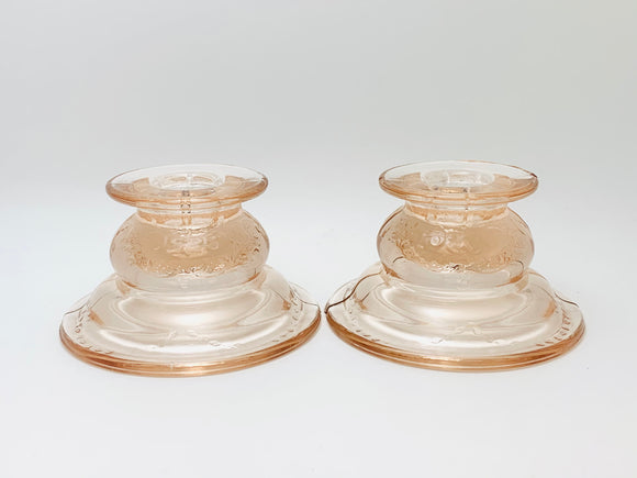 1930s Federal Glass Pink Depression Madrid Candlestick Holders