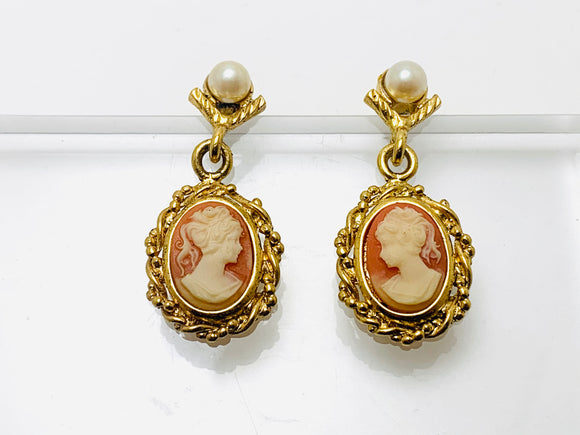 Vintage Cameo Faux Pearl Dangle Earrings for Pierced Ears