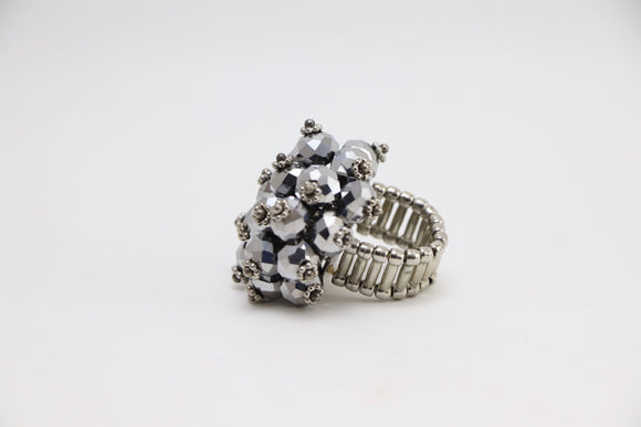 1970's Silver Beaded Cocktail Ring