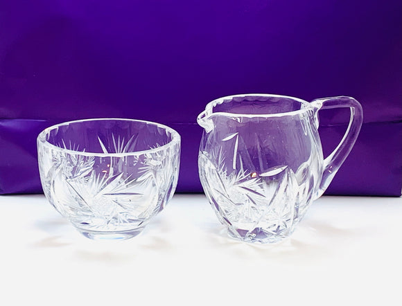 Vintage Bohemian Crystal Star and Pinwheel Cream and Sugar Bowl