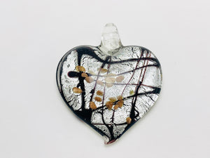 Murano heart shaped pendant with silver flake and gold accents