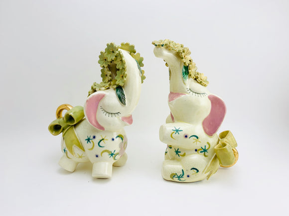 1940-50's Porcelain Floral Elephants