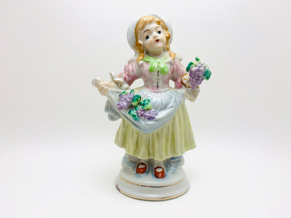 Vintage Girl With Grapes Porcelain Figurine
