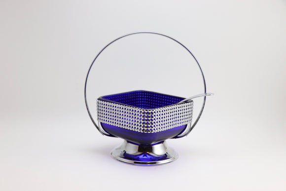Vintage Blue Cobalt Sugar Dish with Chrome Handle and Spoon