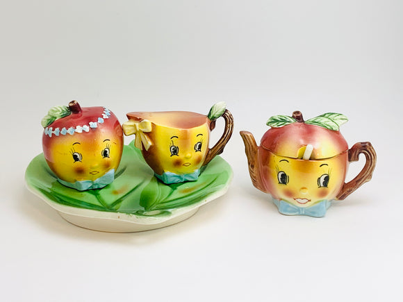 1950's Anthropomorphic Fruit Giftcraft Napco Japan Cruet Set