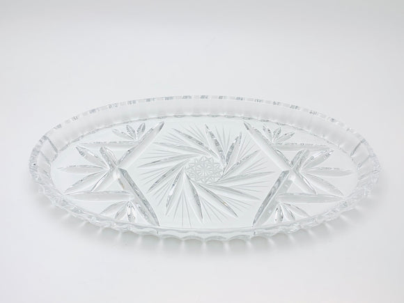 Vintage Bohemian Crystal Star and Pinwheel Oval Tray