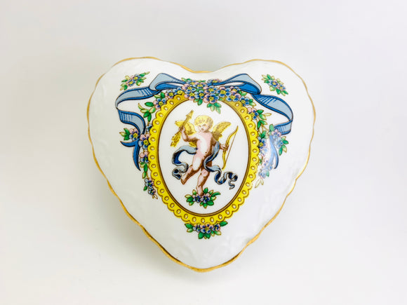Vintage Hammersley Bone China England Heart Shaped Cupid Trinket Jewelry Box