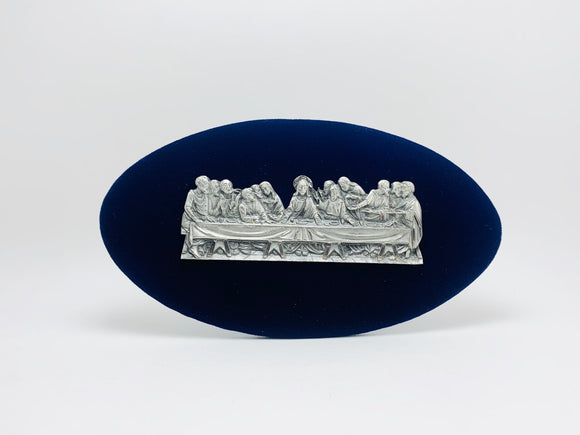 1960-70's Genuine Pewter on Blue Velvet Last Supper Plaque