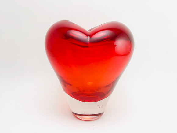 Salviati Style Red Heart Sculpture Murano Glass Vase