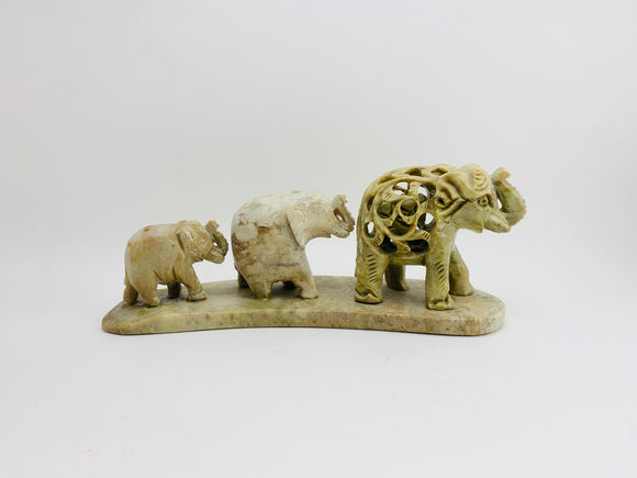 Vintage Hand Carved Marble Elephant Family from India