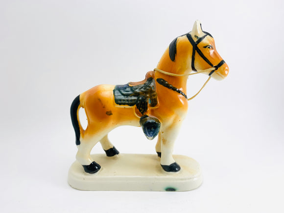 1950's Porcelain Horse with Rains and Saddle