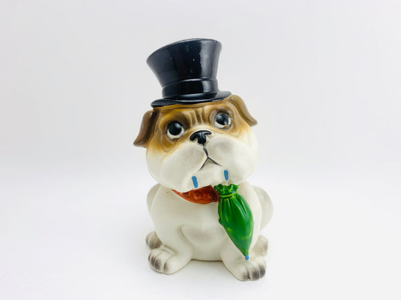 Vintage Porcelain Bulldog with Top Hat and Umbrella