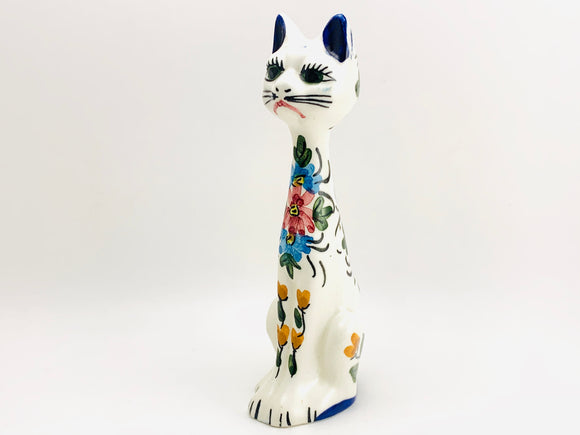 Vintage Folk Art Clay Cat