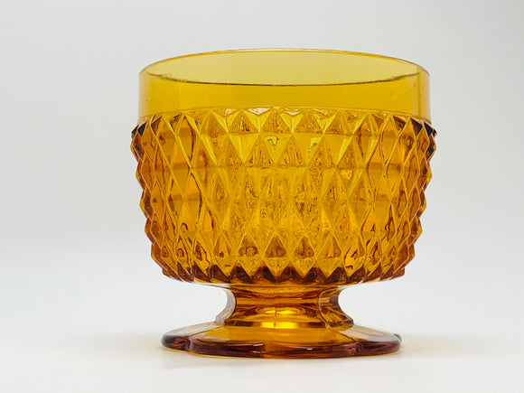 1978 Indiana Amber Glass Diamond Point Sugar Bowl