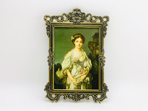 1960's Italian Ornate Small Metal Framed Print