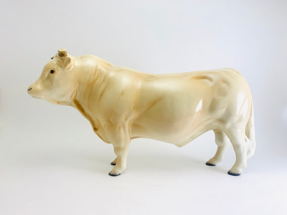 Beswick Pottery Charolais Bull Statuette -English Pottery