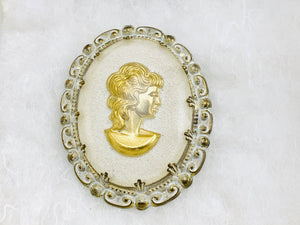 West Germany White & Gold Cabochon Cameo Brooch