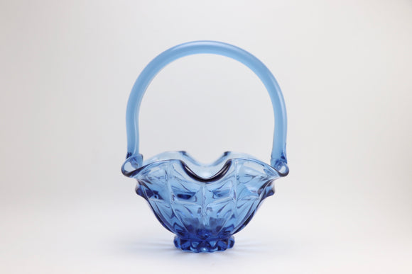 SOLD! Vintage Fenton Glass Blue Scalloped Edge Basket