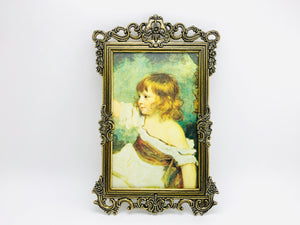 1960's Italian Ornate Metal Framed Portrait Print of a Young Girl