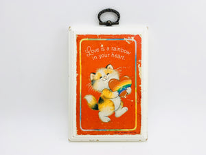 1981 Hallmark Wall Plaque - Love is a Rainbow in your Heart