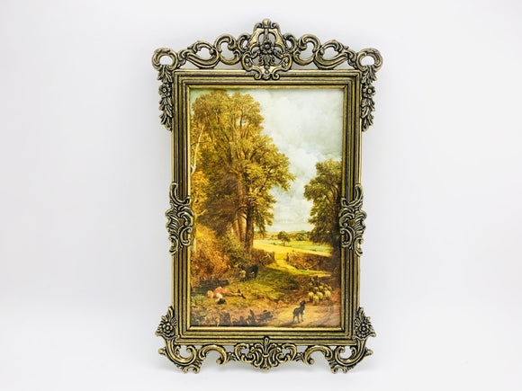 1960's Italian Ornate Metal Framed Farm Scene Print