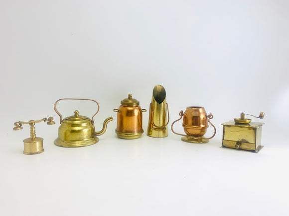 Vintage Copper & Brass Miniature Kitchen Set