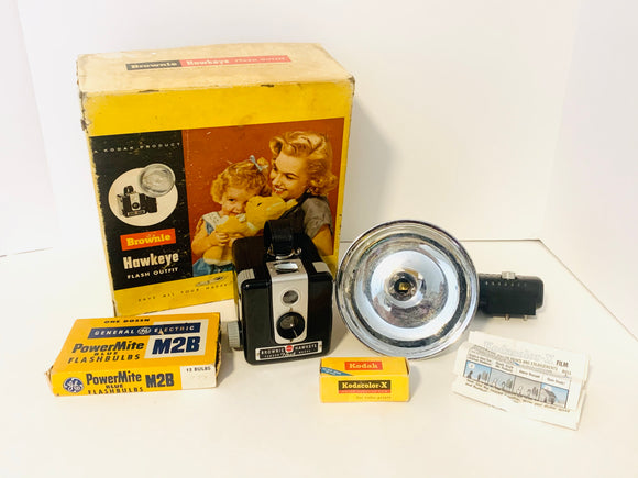 1950's Kodak Brownie Hawkeye Camera Flash Outfit Kit in Box with Extras