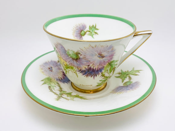 Vintage Royal Doulton Glamis Thistle Bone China Tea Cup and Saucer