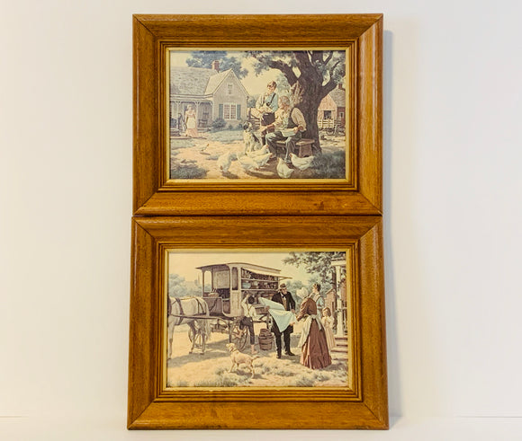 2 M.Nue Vintage Farm Scene Framed Art Prints