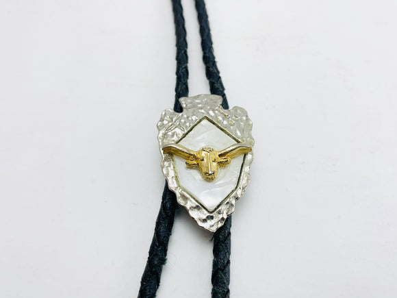 Spear Head, Mother of Pearl, Steer Head Leather Bolo Tie