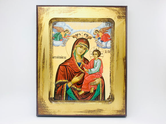 Byzantine Icon Reproduction Greek Madonna Print on Wood